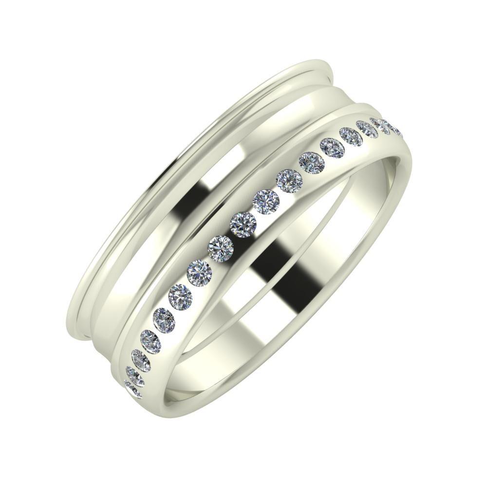 Agrippína - Ainó - Aldea 7mm 18 karátos fehér arany karikagyűrű