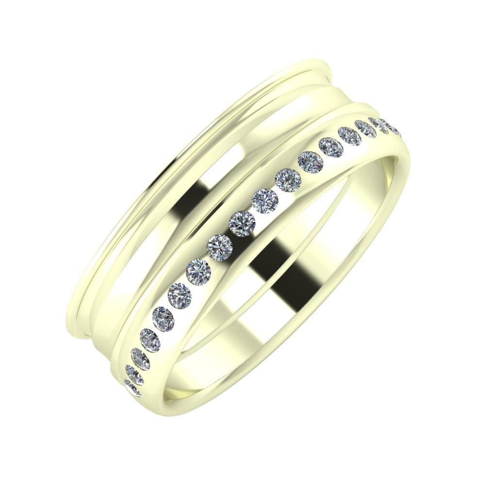 Agrippína - Ainó - Aldea 7mm 22 karátos fehér arany karikagyűrű